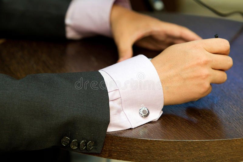 Gesticulation. Businessman gesticulation in a conference stock images