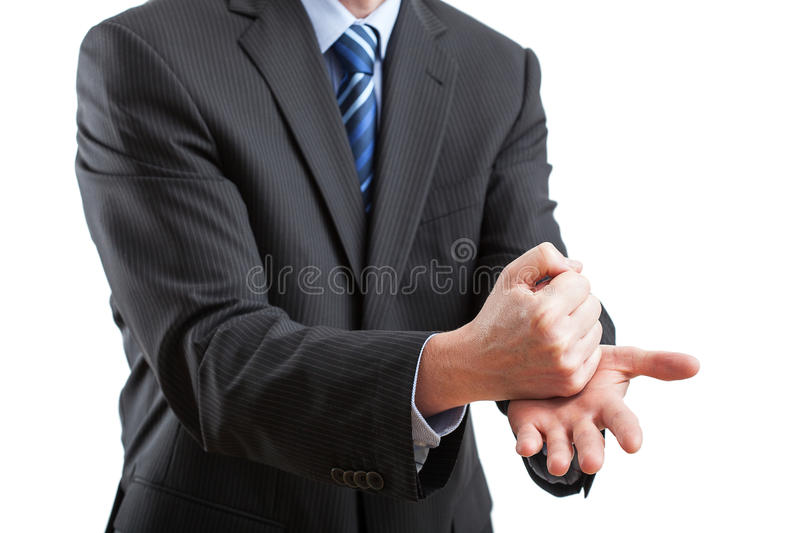 Gesticulation during the speech. Body language of a businessman - he gesticulate to show better the sense of his words stock images