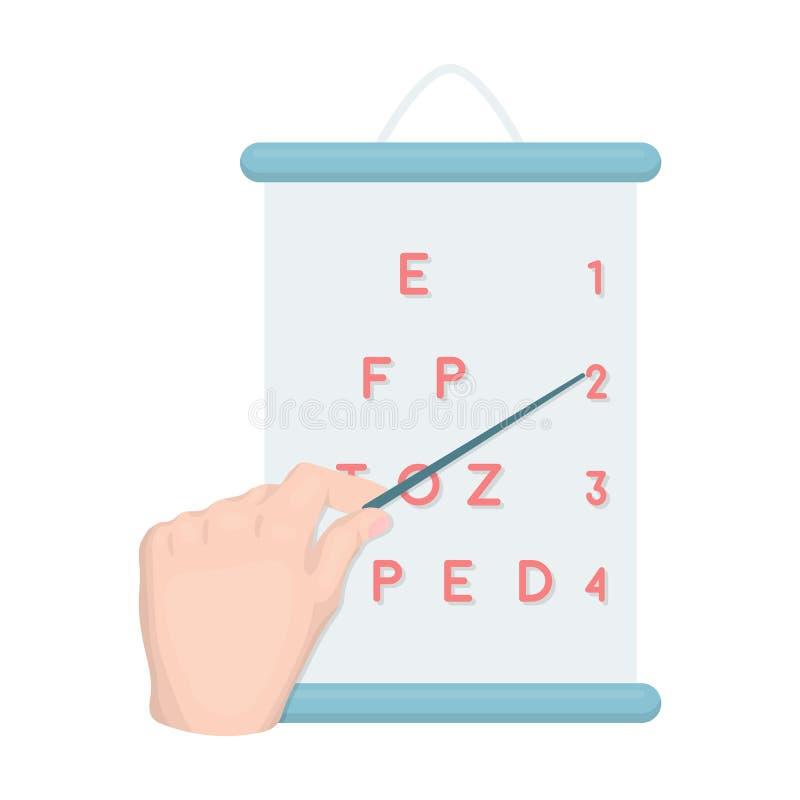 Gesticule, manipulação da mão com um ponteiro ao verificar a visão de acordo com a tabela Único ícone da medicina ilustração royalty free