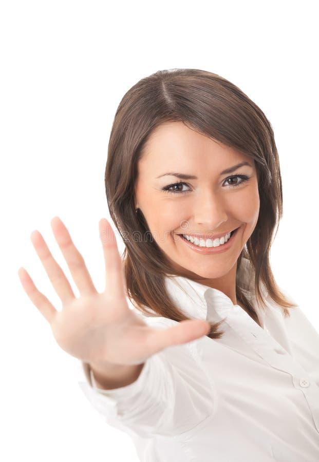 Gestikulieren der Geschäftsfrau stockbild