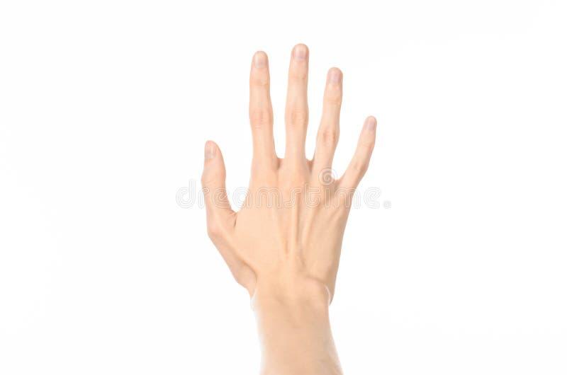 Gestikuliert Thema: menschliche Handzeichen, welche die Erstpersonenansicht lokalisiert auf weißem Hintergrund im Studio zeigen lizenzfreie stockbilder
