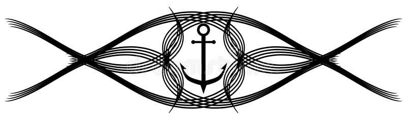 Gestileerd anker in geïsoleerde zwarte met decoratie vector illustratie