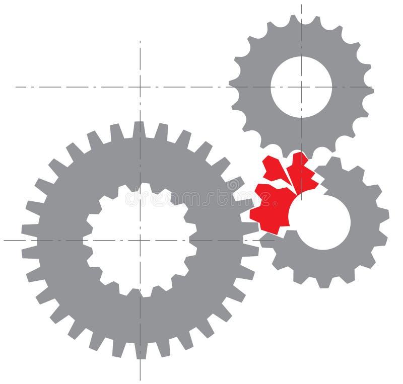 Gestileerd beeld van een gebroken mechanisme stock illustratie