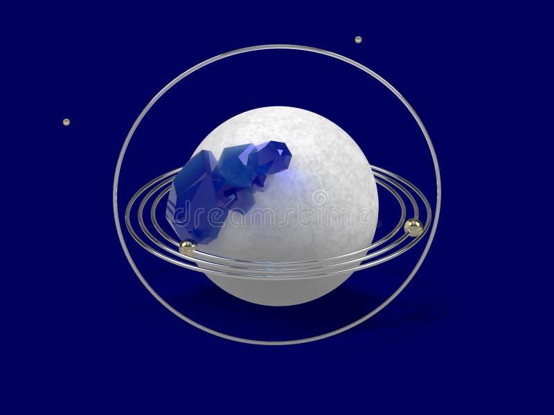 Gestileerd beeld van een model van de planeet met gouden ringen en blauwe gemmen Abstract beeld op een blauwe achtergrond het 3d  royalty-vrije stock foto's