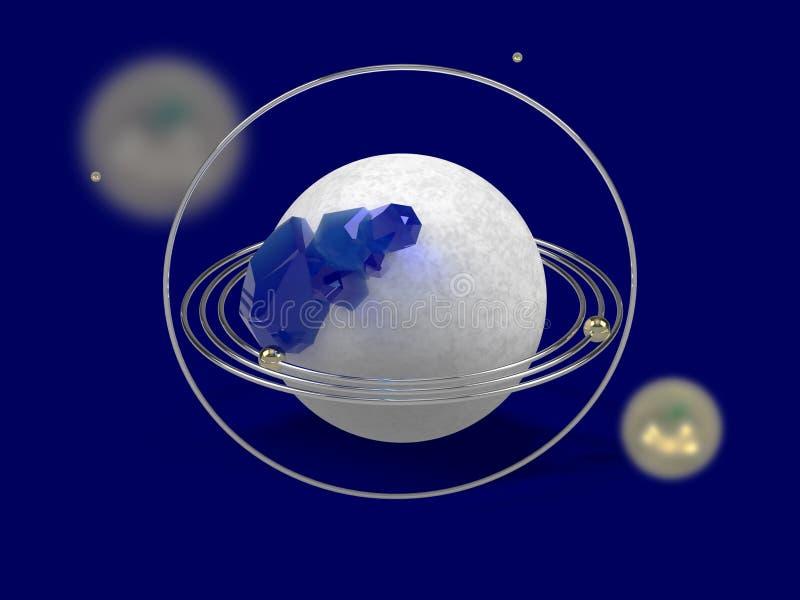 Gestileerd beeld van een model van de planeet met gouden ringen en blauwe gemmen Abstract beeld op een blauwe achtergrond het 3d  stock foto
