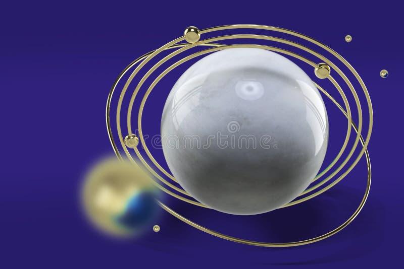 Gestileerd beeld van een model van de planeet met gouden ringen en blauwe gemmen Abstract beeld op een blauwe achtergrond het 3d  royalty-vrije stock afbeelding