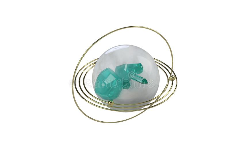 Gestileerd beeld van een model van de planeet met gouden ringen en blauwe gemmen Abstract beeld op witte achtergrond het 3d terug stock fotografie