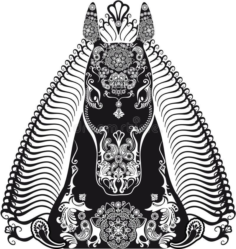 Gestileerd gevormd hoofd zwart-wit paard vector illustratie