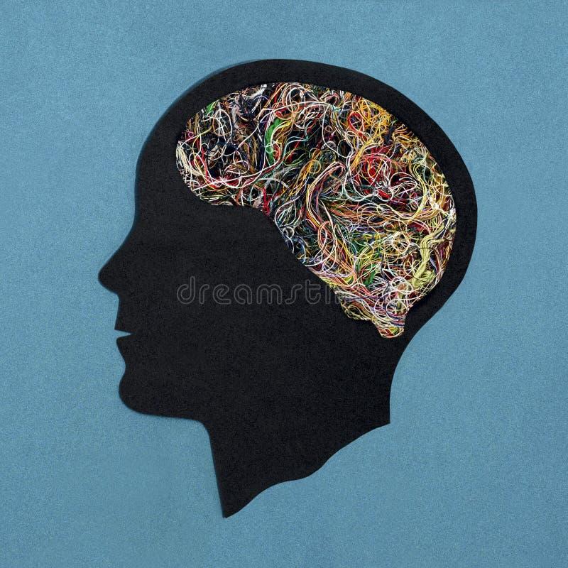 Gestileerd hoofdsilhouet Symbool van verward bewustzijn royalty-vrije stock foto's