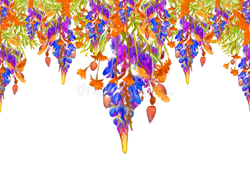Gestileerd kader bloemen naadloos patroon - boeket voor uitnodiging royalty-vrije stock foto