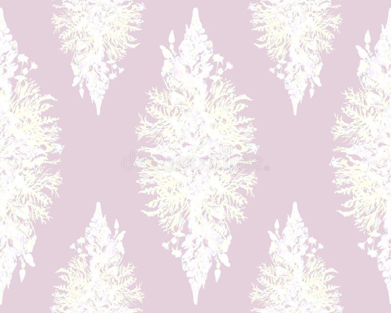 Gestileerd kader bloemen naadloos patroon - boeket voor uitnodiging royalty-vrije stock fotografie