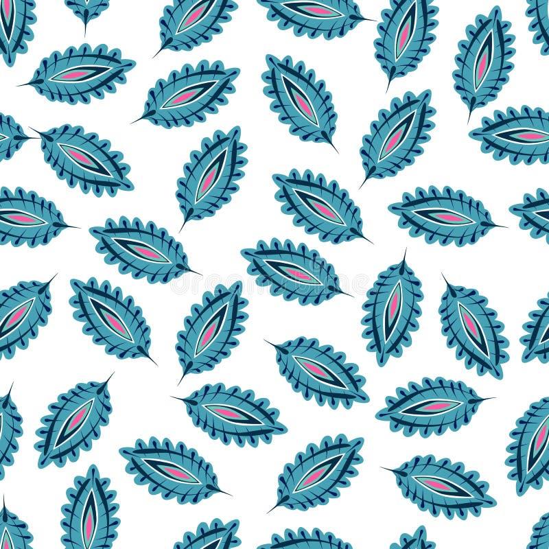 Gestileerd kleurrijk bladeren naadloos patroon E r vector illustratie