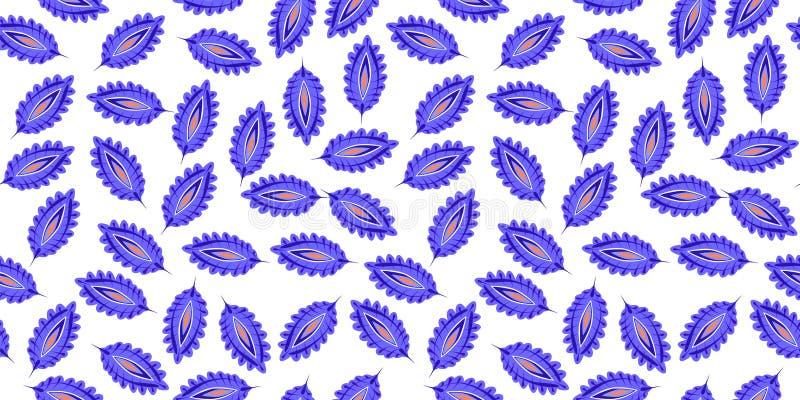Gestileerd kleurrijk bladeren naadloos patroon E r stock illustratie