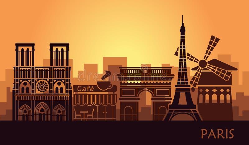 Gestileerd landschap van Parijs met de toren van Eiffel, boog DE Triomphe en Notre Dame Cathedral en andere aantrekkelijkheden vector illustratie