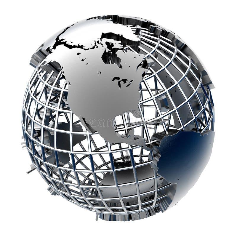 Gestileerd metaalmodel van de Aarde royalty-vrije illustratie