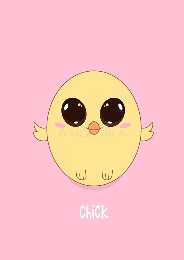 Gestileerd ontwerp van een leuk geel kuiken op een roze achtergrond stock illustratie