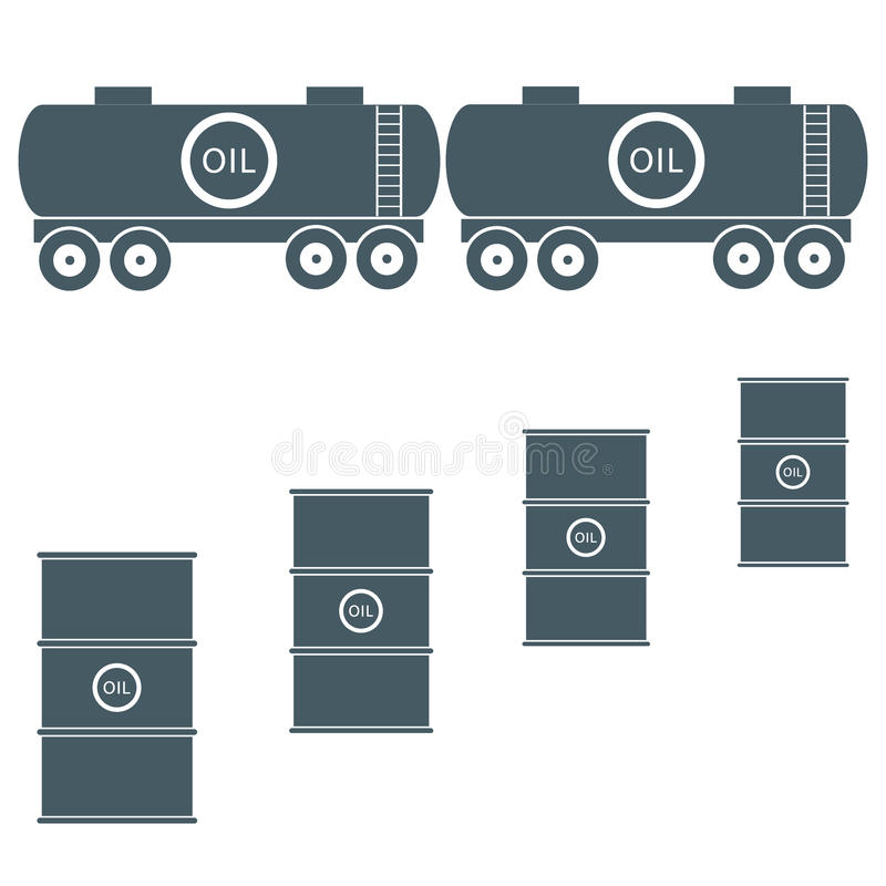 Gestileerd pictogram van de tanks en de vaten met olie stock illustratie