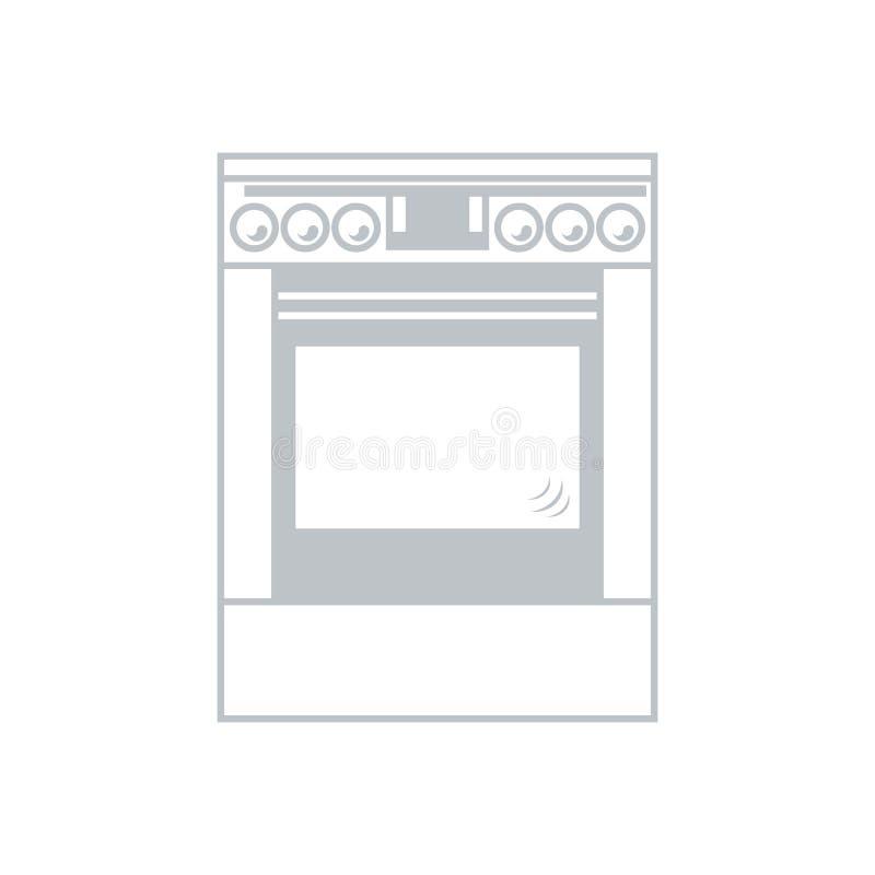 Gestileerd pictogram van een gekleurd kooktoestel op een witte achtergrond royalty-vrije illustratie