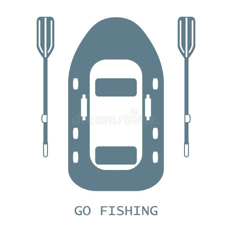 Gestileerd pictogram van een gekleurde opblaasbare boot met roeispanen voor visserij stock illustratie