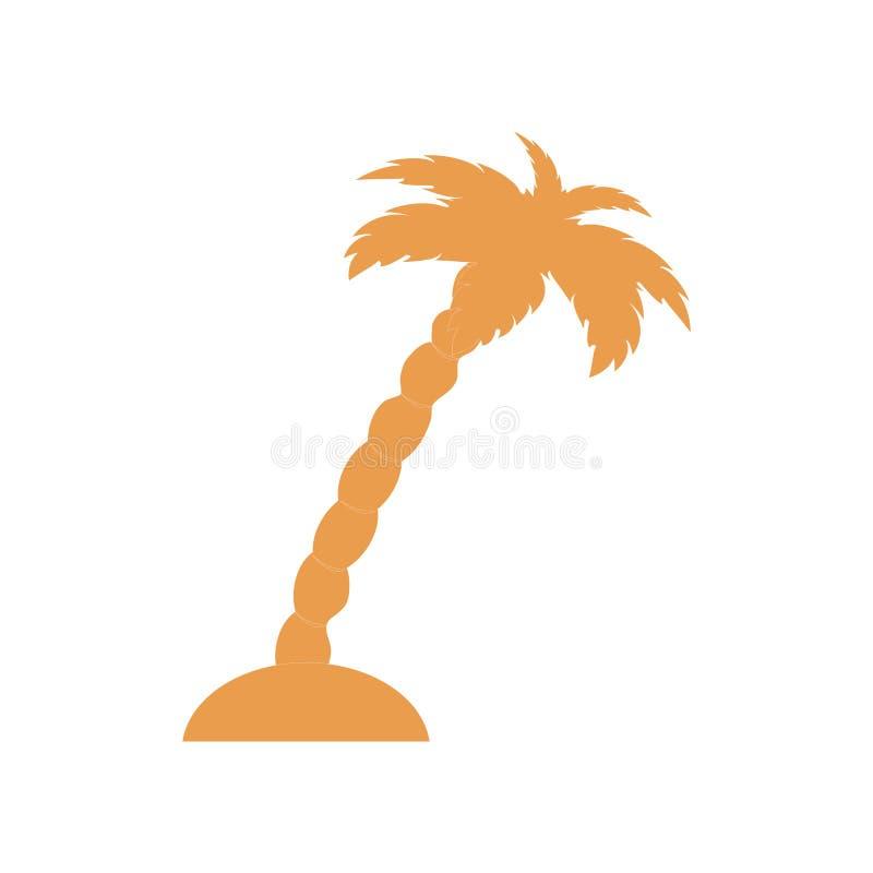 Gestileerd pictogram van het eiland met palm stock illustratie
