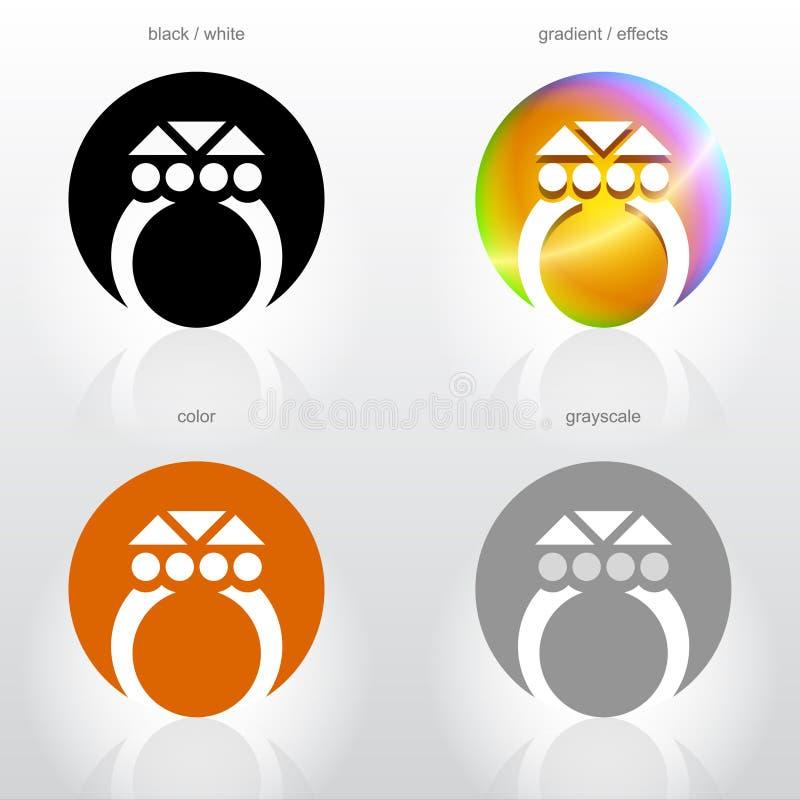 Gestileerd symbool van ring met halfedelsteen vector illustratie
