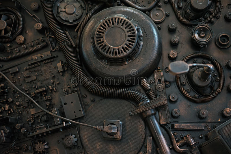Gestileerd van een mechanische steampunk stock afbeeldingen