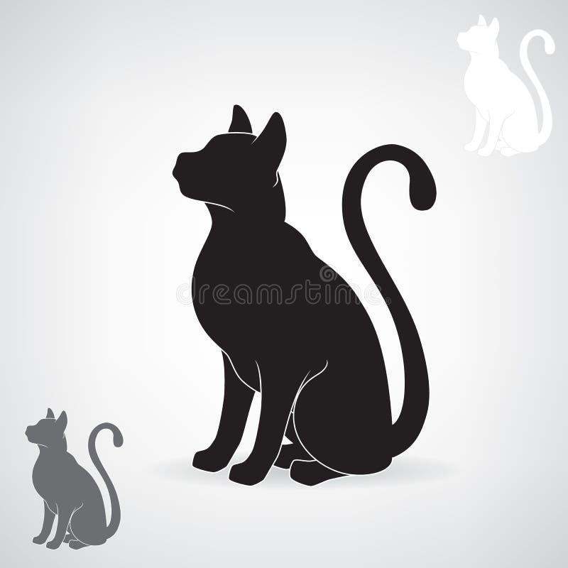 Gestileerd zwart silhouet van een kat stock illustratie
