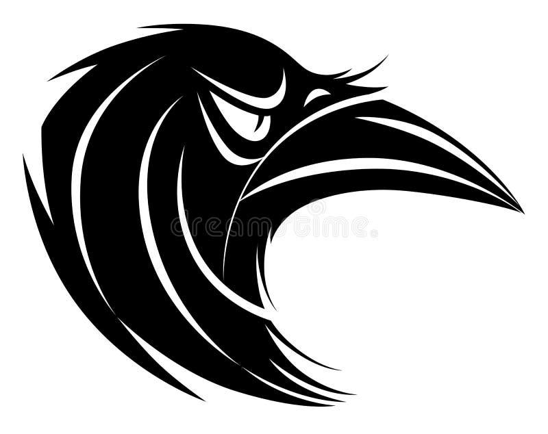 Gestileerd zwart-wit raafhoofd vector illustratie