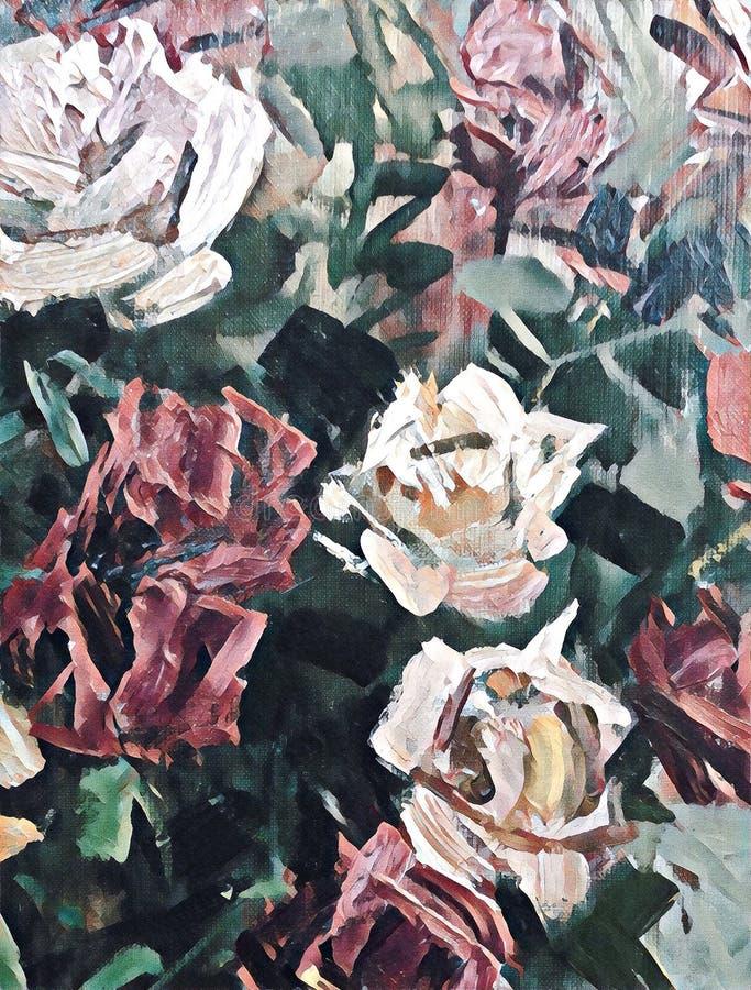 Gestileerde acrylrozen op geweven canvas stock illustratie