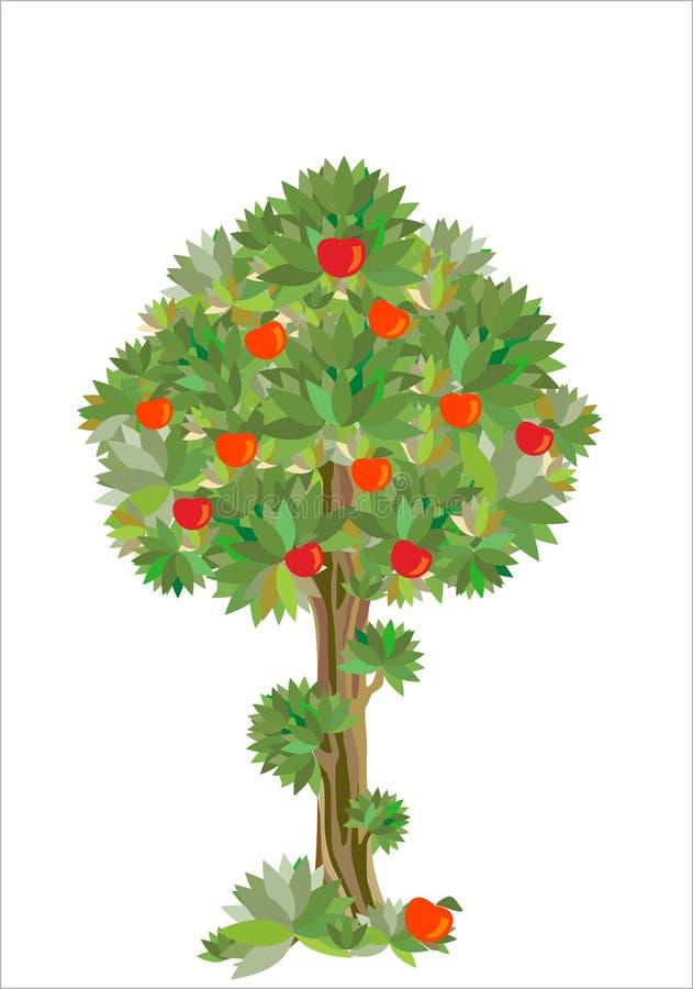 Gestileerde appelboom royalty-vrije illustratie