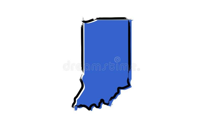 Gestileerde blauwe schetskaart van Indiana stock illustratie