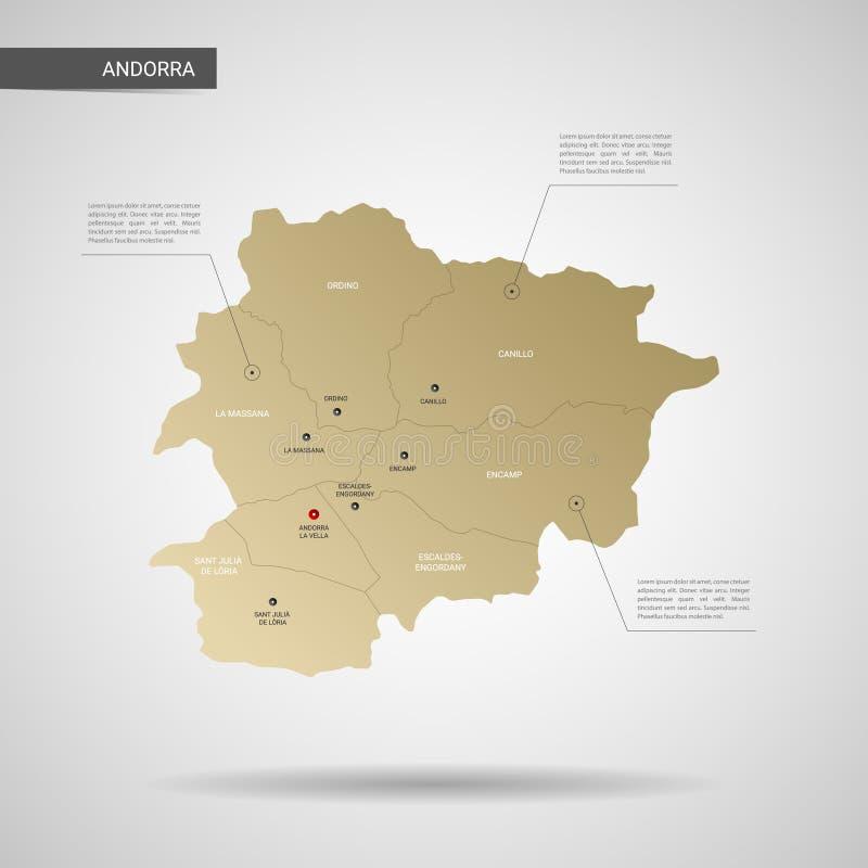 Gestileerde de kaart vectorillustratie van Andorra stock illustratie