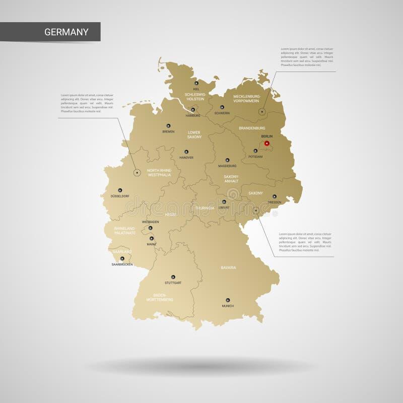 Gestileerde de kaart vectorillustratie van Duitsland royalty-vrije illustratie