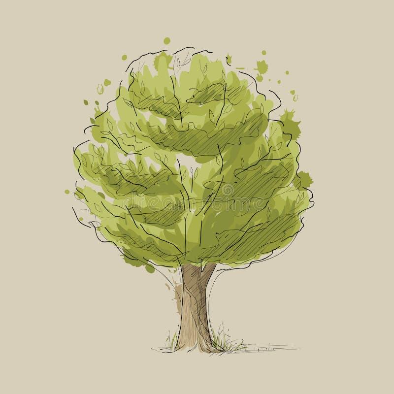 Gestileerde de zomerboom stock illustratie