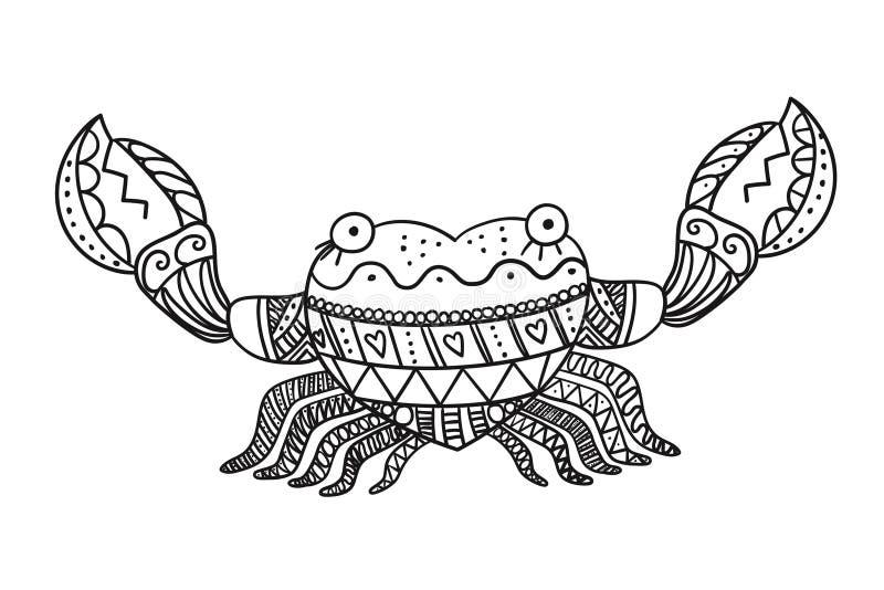 Gestileerde die krab op witte achtergrond wordt geïsoleerd