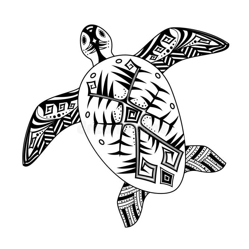 Gestileerde die schildpad, in Afrikaan of Australisch-Stijl wordt gesierd vector illustratie
