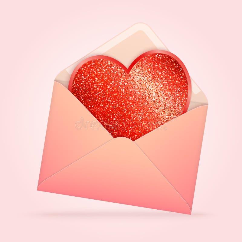 Gestileerde Document Roze Envelop met Rood Schitterend Hart vector illustratie
