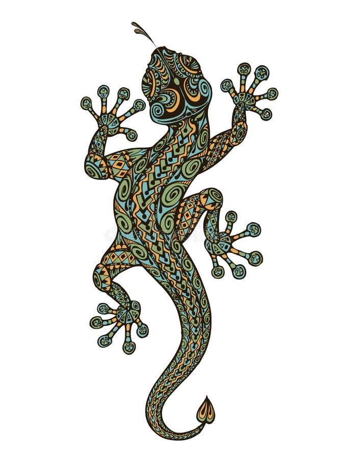 Gestileerde fantasie gevormde hagedis Etnisch gesierd dier Vector illustratie stock illustratie