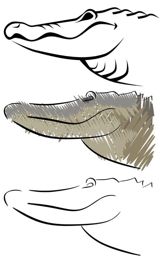 Gestileerde geïsoleerde krokodil stock illustratie