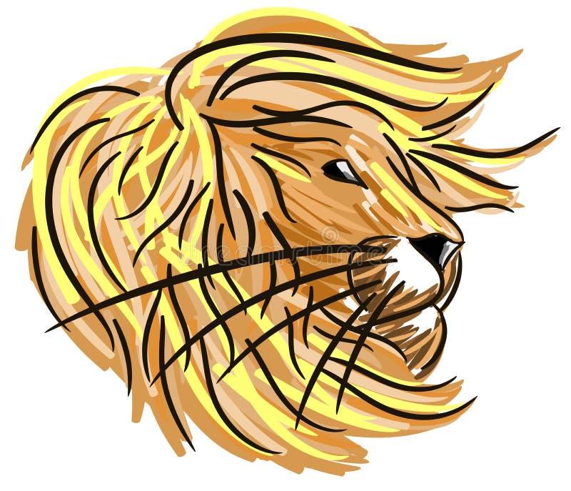 Gestileerde geïsoleerde leeuw royalty-vrije illustratie