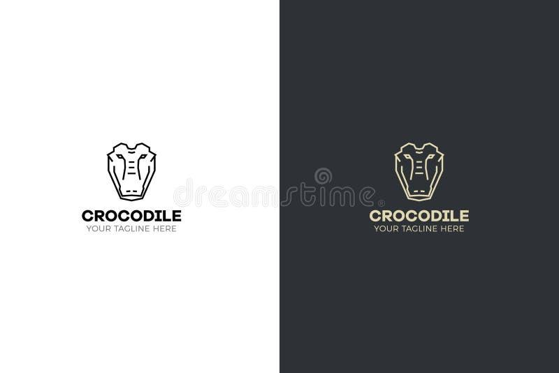 Gestileerde geometrische Krokodil hoofdillustratie Vectorpictogram stammenontwerp royalty-vrije illustratie