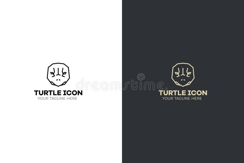 Gestileerde geometrische schildpad hoofdillustratie Het vectorontwerp van de pictogram stammenschildpad stock illustratie
