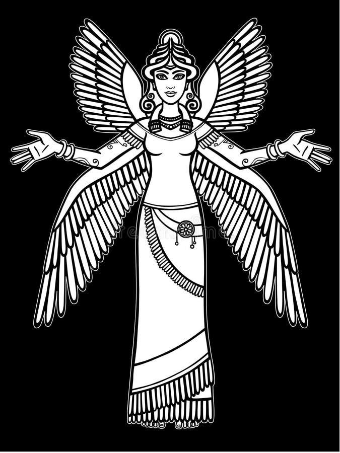 Gestileerde godin Ishtar vector illustratie