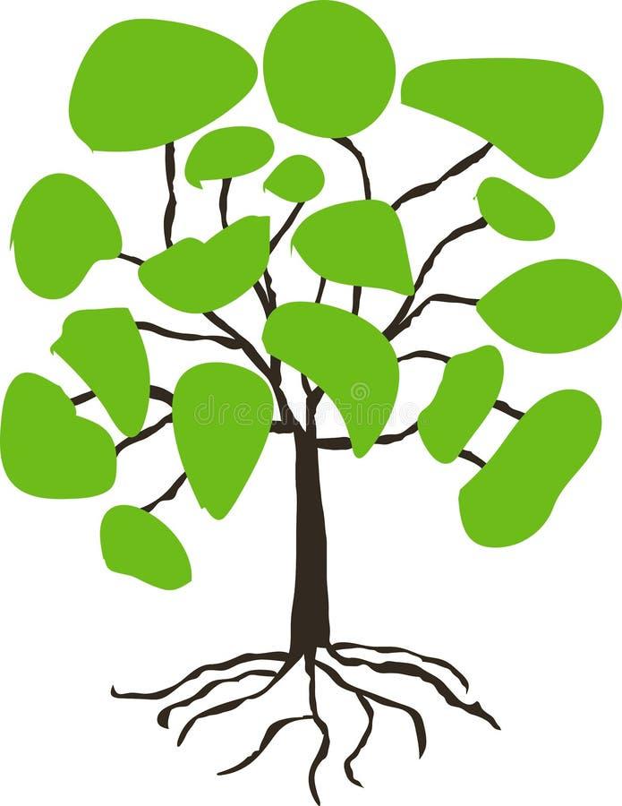 Gestileerde hand getrokken boom met groene kroon op wit stock illustratie