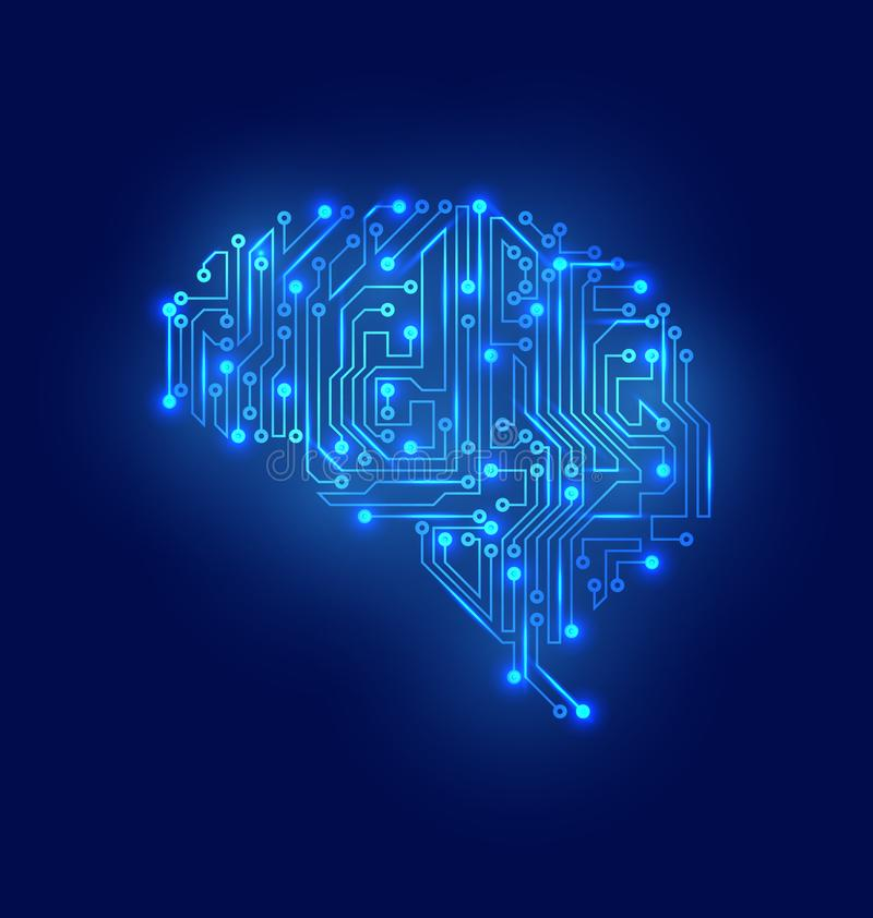 Gestileerde hersenen De Textuur van de kringsraad, Elektriciteitsmening royalty-vrije illustratie