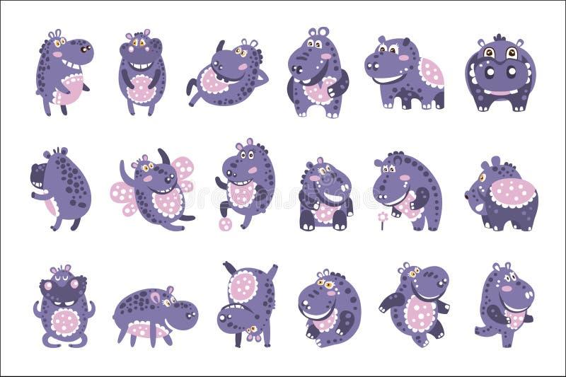 Gestileerde Hippo met Gestippelde Patroonreeks Kinderachtige Stickers of Drukken van Vriendschappelijk Toy Animal In Violet And-B vector illustratie
