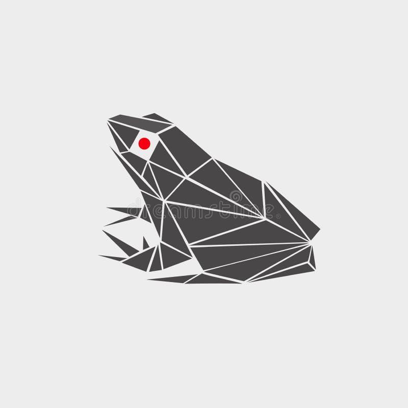Gestileerde illustratie van een kikker, pad veelhoekige, zwart-wit, rode ogen embleem, pictogram, teken, symbool, vlak, in perspe royalty-vrije illustratie