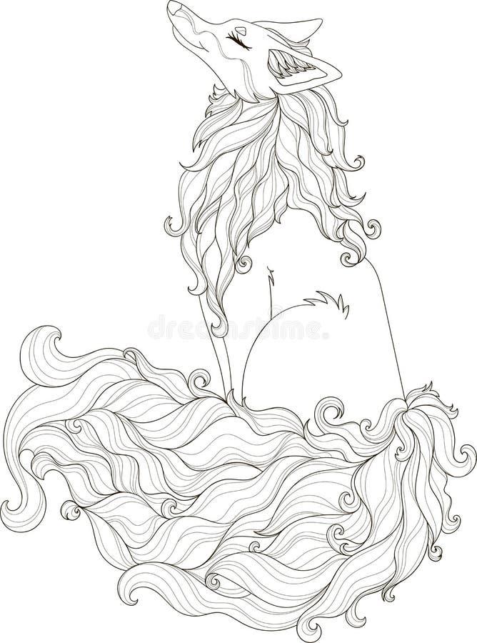 Gestileerde illustratie van krullende foxy in de stijl van de verwarringskrabbel voor het kleuren van boek stock illustratie