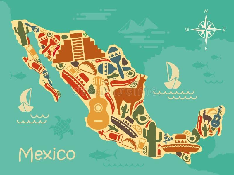 Gestileerde kaart van Mexico stock illustratie