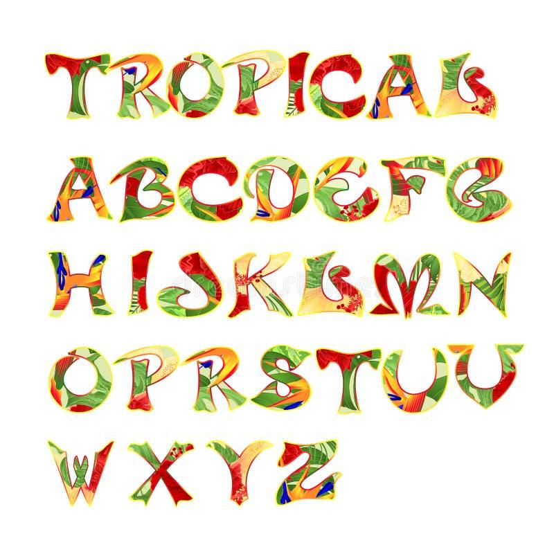 Gestileerde kalligrafische doopvont en alfabet tropische editable patroon uitstekende vectorillustratie vector illustratie
